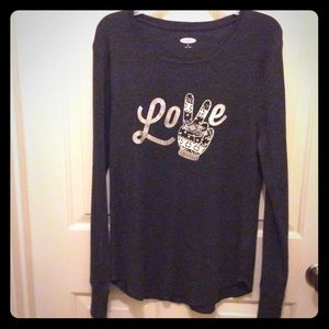 Old Navy dark gray XL thermal pullover Love peace